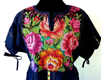 Vintage Handmade Heavily Embroidered Indigo Fabulous Floral Needlepoint Dress from Guatemala All Cotton