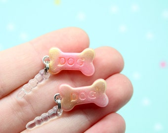 Cosmic Dog Bone Phone Charm Dust Plug Kawaii Polymer Clay