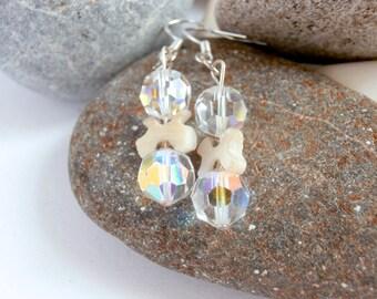 Crystal Earrings - Aurora Borealis - Repurposed - Mother of Pearl