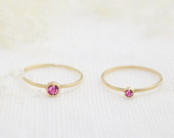 14k gold tiny pink sapphire ring, 2mm or 3mm, dainty pink sapphire stack ring, rose gold, white gold, dal-r101-2mm or 3mm-psap