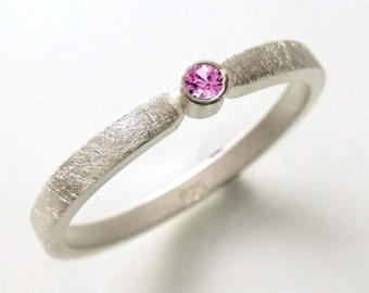 Silver ring with Saphire pink, Stacking ring, engagement ring, sterling silver structured - handmade by SILVERLOUNGE