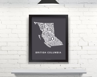 Far Sky British Columbia Typographic Map