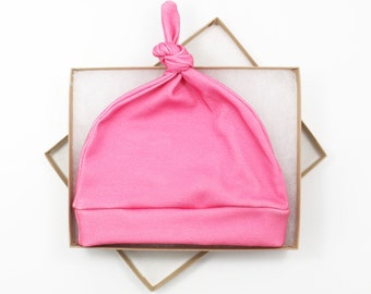 Pink Newborn Hat/ Baby Hat/ Organic Cotton Hat/ Baby Knotted Hat/ Knotted Cap/ Organic Cotton Baby Hat/ Newborn Infant Hat