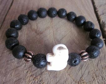 Bohemian bracelet Lucky elephant volcanic rock lava stone copper beads white stone beaded bracelet mens bracelet / women's stretch bracelet