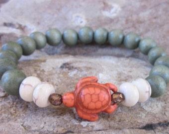 Turtle bracelets orange sea turtles bohemian bracelet white stone wooden beads yoga bracelet beach jewelry wood stretch stacking bracelets