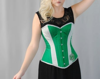 Green and Silver Serpent House Inspired Overbust Steel Boned Corset