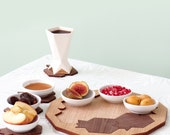 Pomegranates and honey hive 3 in 1 set wooden tray +Set of coasters +ceramic dishes. For Jewish holidays