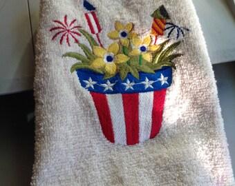 Patriotic Flowers in a Pot