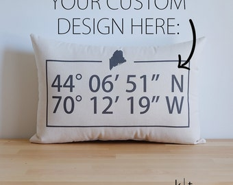 Personalized Map Coordinates Cotton Canvas Pillow - State or Country Pillow - Modern Home Decor - Latitude Longitude - Housewarming Gift