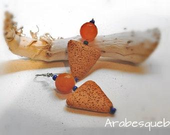 Arabesque - hard stone Orange earrings