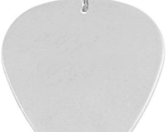 Custom engraved silver plated pick pendant / necklace with black velvet gift pouch and box - C9-p