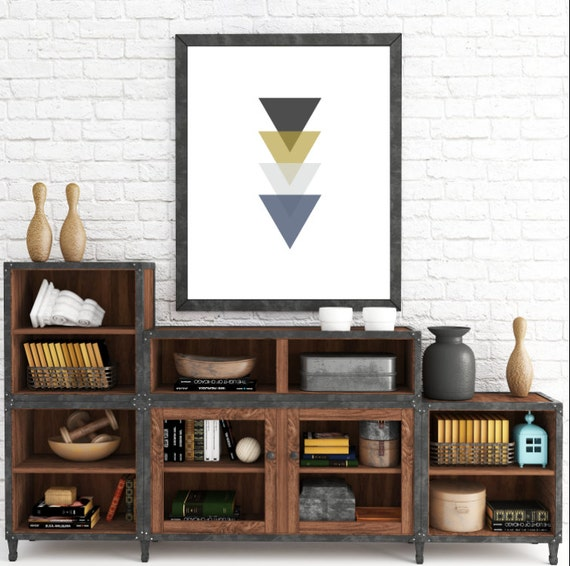 Navy and Yellow, Blue and Gold, Gray and Mustard Yellow, Triangle Art, Geometric Print, Wall Decor, Printable Art, Blue and Yellow Wall Art