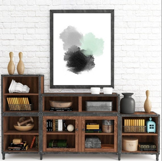 Abstract Print, Mint Abstract Art Print, Gray Art, Large Abstract Print Art, Abstract Painting Print, Black And White Art, Instant Download