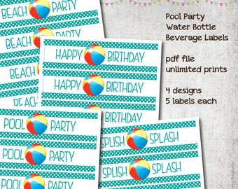 Pool Party - Water Bottle Labels - Beverage Labels