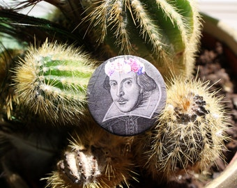 William Shakespeare in a flower crown 32mm pin back badge
