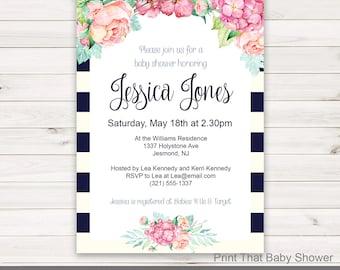 Baby Shower Invitation - Floral Baby Shower - Printable Invitation - Flower Baby Shower Invites - Floral Invitation - Floral