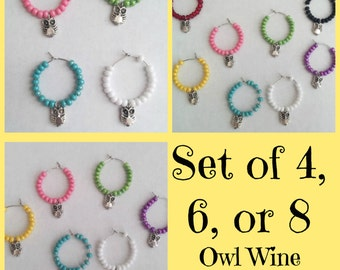 Set of 4, 6, or, 8 Owl Wine Charms