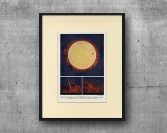 SUN, Solar Prominence C. 1900 Antique Lithograph- Matted 11x14 - Wall Art, Home Decor, Christmas Gift - Planets Astronomy Science Space