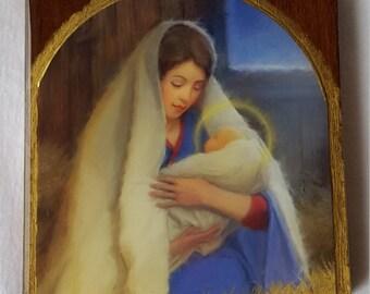 Virgin Mary with Baby Jesus Block Art 2