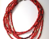 Red Seed Bead Multi Strand Choker Necklace, with Garnet and Picture Jasper
