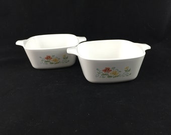 Vintage Corning Ware Autumn Meadow Small Casserole Dishes, P-43-B, Set of 2