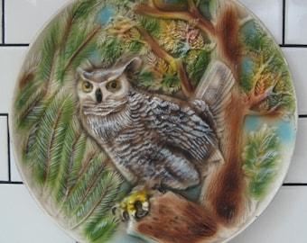 Vintage owl art - Retro Owl chalkware - Hoot Owl - Great Horned Owl - North American Owl - Midcentury Fauna- Vintage North America
