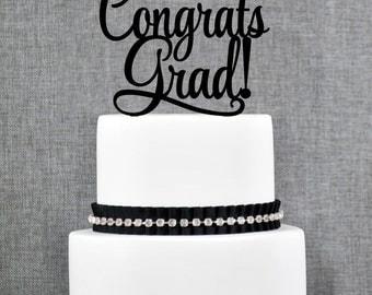 Congrats Grad Cake Topper, Graduation Cake topper, Congrats Grad Graduation Cake Topper- (T273)