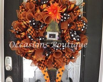 Pre-Order Wicked Witch Halloween Wreath, Halloween Decoration, Door Hanger, Halloween Wreaths, Fall Wreaths