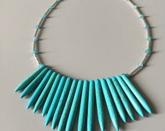 Spiky Turquoise Necklace - Turquoise Necklace - Bib Necklace - Turquoise Jewelry -  Beaded Fringe Necklace - Fan Fringe Necklace -