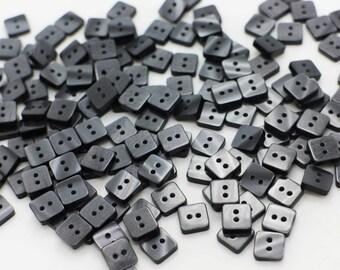 Mini Dark Grey Square Button, Dark Gray Button, Square Shape Button, Blouse Button, Shiny Button, Children Button,Two Holes Buttons, 8mm