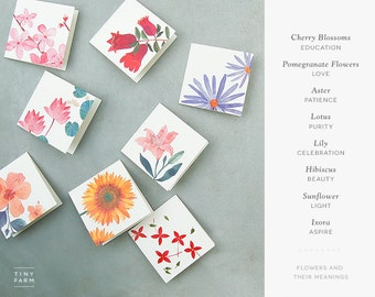 Floral Watercolor Gift Tags - Blank Folded Gift Tags - Holiday Tags - Party Tags - Pack of 8