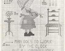 Counted Cross Stitch Chart Man Goes to Work by the Clock Aggie J 1974