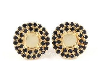 Gold Stud Earrings Settings Fits ss39 Double Row Jet Black Rhinestones 1 Pair