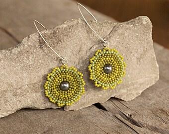 Circle earrings, Lime Olive Green earrings, Seed beaded jewelry, Disc earrings, Extra long earrings, Lightweight earring, Round earrings