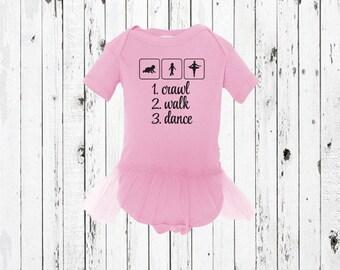 Crawl Walk Dance Baby Tutu - Baby Bodysuit Tutu - One Piece Tutu - Ballerina Tutu - Dance Tutu