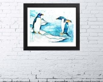 Penguins - Watercolor Fine Art Print, Giclee Print, Penguins