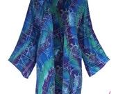 Plus Size Batik Kimono Jacket | Women's Oversized Plus Size Clothing | Plus Size Cardigan |  Lagenlook Boho Sleeve , One Plus Size (1x-3x)