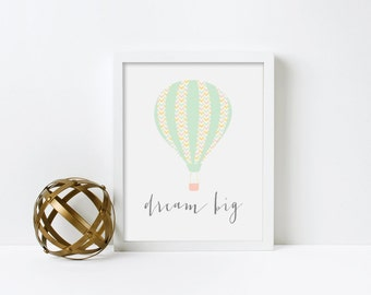 Nursery Wall Art, Hot Air Balloon, Gender Neutral, Dream Big, Framed, Canvas, Art Print #217