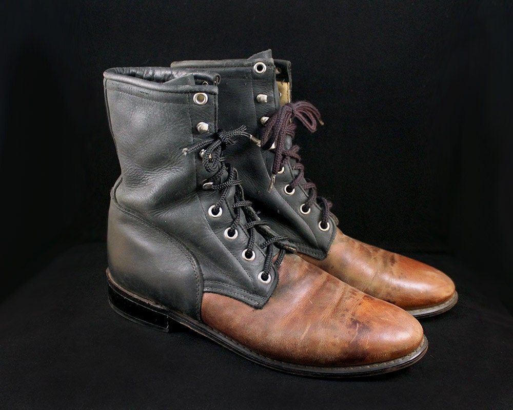 vintage size 8 5 black and brown two tone leather combat boots
