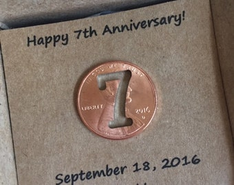 7th Anniversary, Happy Anniversary, Anniversary Gift, Seven Year, Lucky Penny, anniversary gift for him, anniversary gift for her