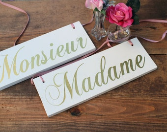 Wedding Chair Sign, Monsieur Madame Chair Sign, Chair Signs Wedding, Wedding Chair Decor, Sweetheart Table Decor, Sweetheart Table Sign