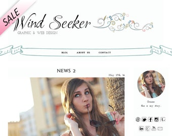Premade Wordpress theme, modern template, romantic blog design, white background, swirls, banner