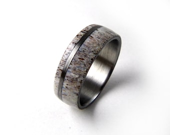 Antler Ring, Deer Antler Ring, Elk Antler Ring, Titanium Antler Ring, Antler Wedding Band, Titanium Men's Ring, Titanium Women's Ring