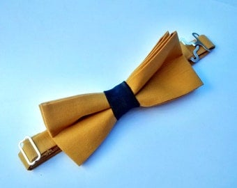 Two Tier Mustard Bow Tie