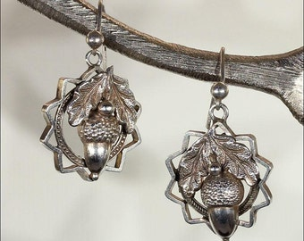 Antique Oak Leaf and Acorn Earrings in Sterling Silver, Victorian
