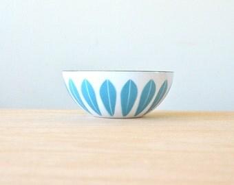 "Rare Turquoise 5.5"" Cathrineholm Enameled Lotus Bowl, Vintage Mid-century Modern, Made in Norway by Grete Prytz, Scandinavian, Teal Blue"