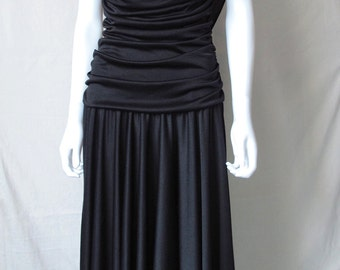 Vintage 80s Ruched Dramatic Black Dress by HW Collections