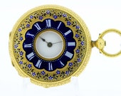 See-through Ladies 18K Gold Cylindre Pocket Watch with Blue Enamel