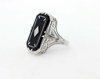 18K White Gold Diamond and Onyx Ring