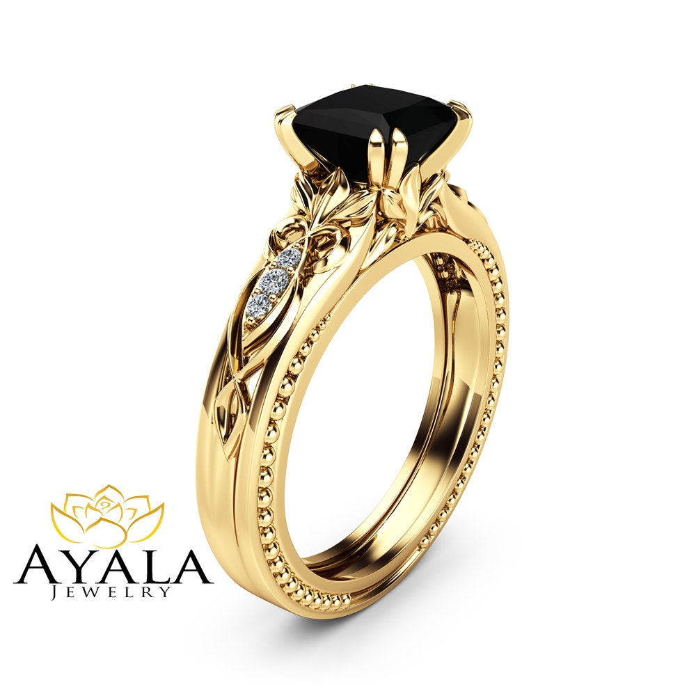Black Diamond Victorian Engagement Ring 14K Yellow Gold